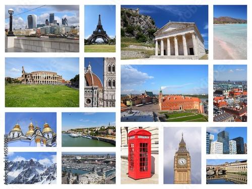 Europe landmarks Poster