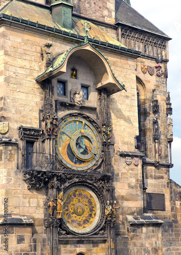 Tuinposter Praag Orloj, Historical medieval astronomical clock, Old Town Hall, Prague, Czech Republic..