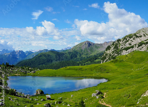 Keuken foto achterwand Bergen Bergsee am Lagazuoi, Dolomiten