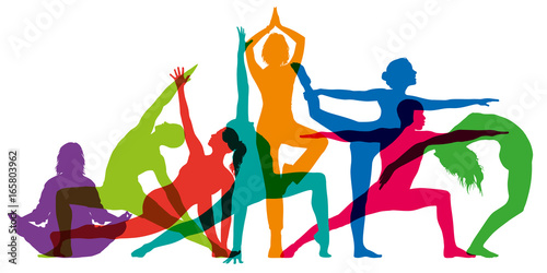 yoga - fitness - corps - sport - gym - silhouette - zen - méditation - relaxation - attitude - 165803962