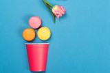 Colorful macaroons falling into red paper cup. Minimal concept. Appetizing macaroons and pink tulip on blue background.