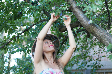 young woman picking ripe plums from tree