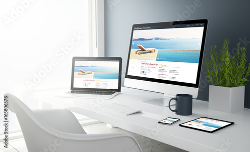 grey studio devices with resort and spa website