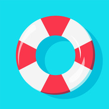 Top View Of Swim Tube On Water For Summer Icon  Design Sticker