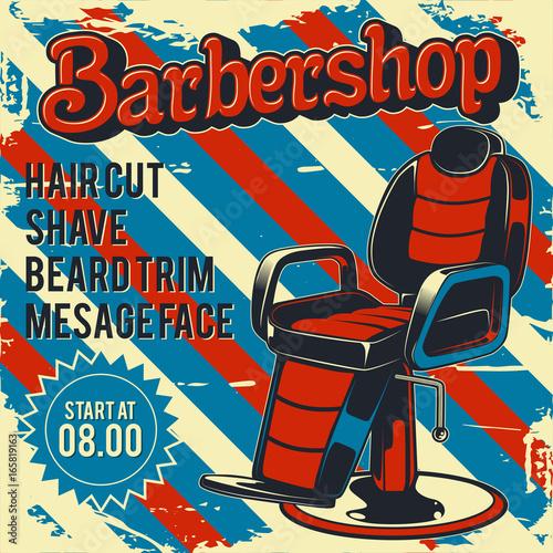 Aluminium Vintage Poster Barber Shop retro vector poster design