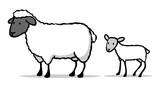 Niedliches Cartoon Schaf mit Lamm - 165819346