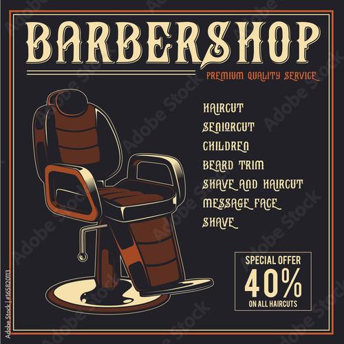 Fotobehang Vintage Poster Barber Shop retro vector poster design