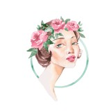Girl in wreath. Romantic watercolor illustration. Female face, watercolor painting