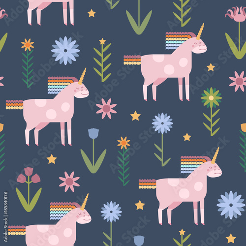 Cotton fabric Vector seamless pattern with cute unicorns