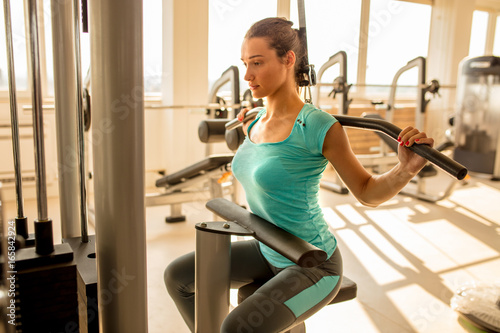 woman fitness, sport, training, gym and lifestyle concept