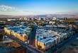 Aerial view of sunset over downtown San Jose in California