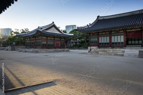 temple in central seoul in south korea in the evening