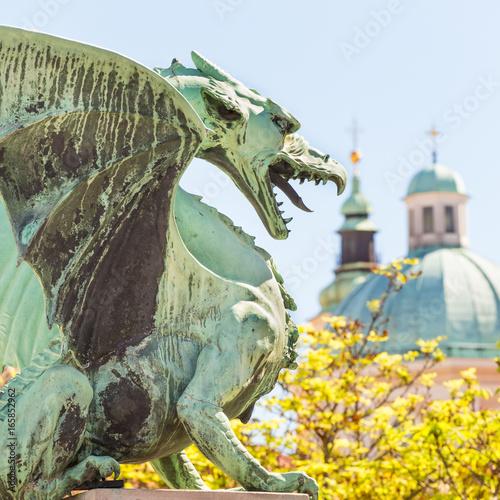 Foto op Aluminium Kasteel Famous Dragon bridge, Zmajski most, symbol of Ljubljana, capital of Slovenia, Europe.