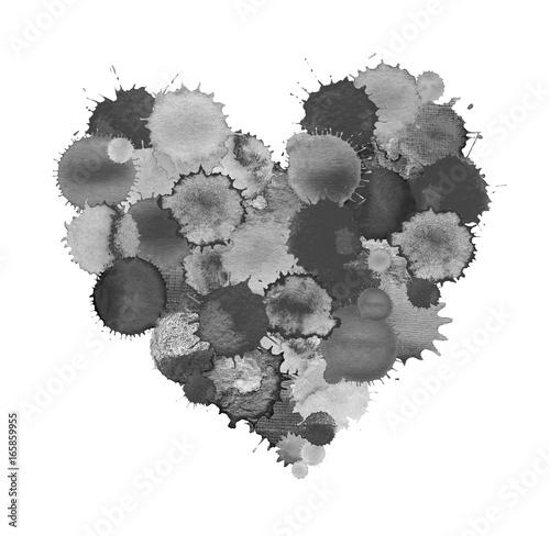 Keuken foto achterwand Vlinders in Grunge Black splash heart for Valentines Day. Black textured heart shape