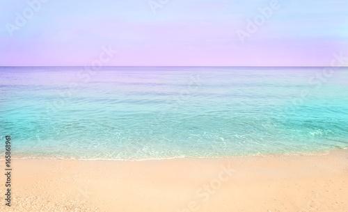 Keuken foto achterwand Purper Colorful sea beach sunrise.
