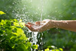 Water pouring in woman hand on nature background, environment concept