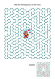 Maze game: Help the teddy bear and snowman get out of the maze. Answers included.