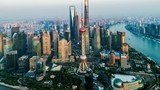 Aerial view of the skyline and downtown of Shanghai, China