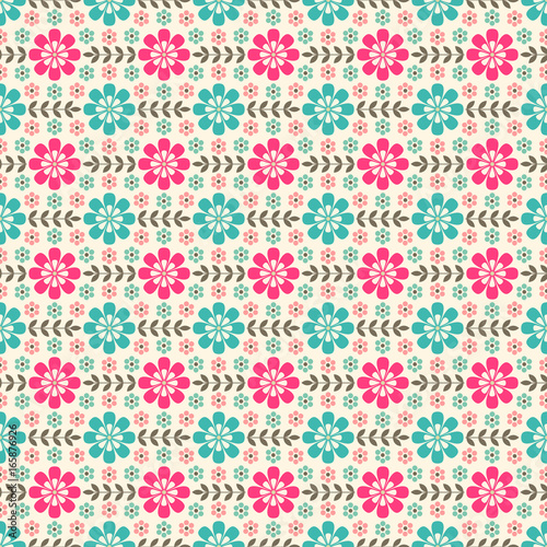 Seamless pattern with flowers and leaves - 165876926