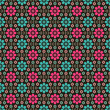 Seamless pattern with flowers and leaves on brown background - 165877512