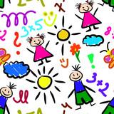 kid drawings seamless pattern background beautiful banner wallpaper design illustration