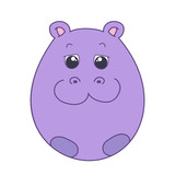 Egg shaped cute little hippo
