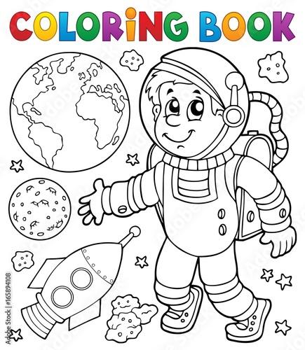 Tuinposter Voor kinderen Coloring book astronaut theme 1