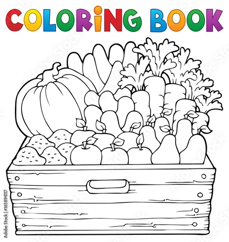Tuinposter Voor kinderen Coloring book farm products theme 1
