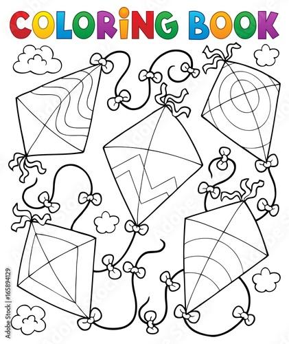 Tuinposter Voor kinderen Coloring book flying kites