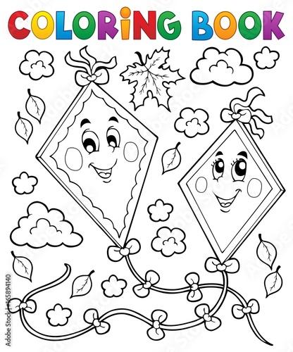 Tuinposter Voor kinderen Coloring book happy autumn kites