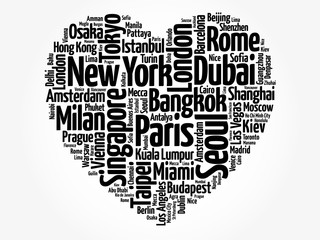 Top 100 International Tourist Destination Cities composed in love sign heart shape, word cloud collage, business and travel concept background