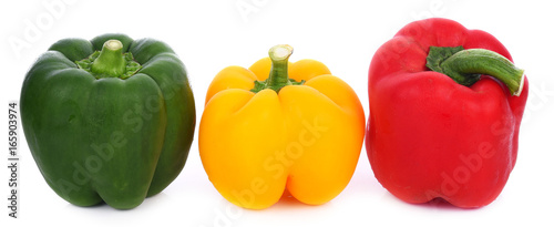 Spoed canvasdoek 2cm dik Verse groenten three bell peppers isolated on white background