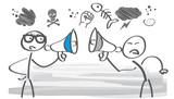 Konfrontation - zwei Strichmännchen streiten miteinander - 165904396
