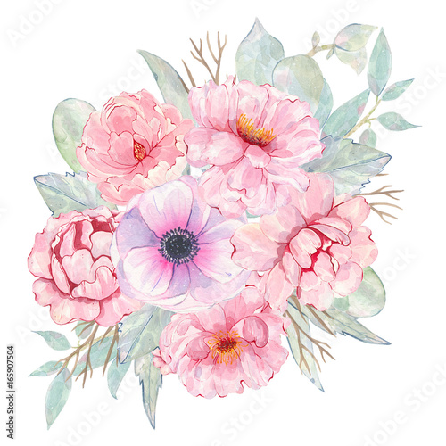 Watercolor hand painted flower pink anemone and peony bouquet isolated on white background - 165907504
