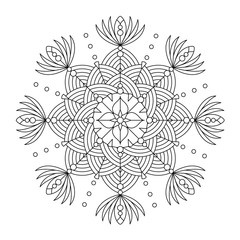 Abstract mandala, centerpiece or whimsical snowflake line art design or coloring page
