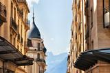 Street in Montreux town Geneva Lake Swiss Riviera