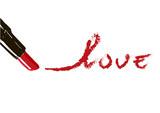 Inscription lipstick love. Red inscription written lipstick love