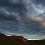 Panoramic view of the hills from the chalk. Photographed in Russia during sunset.
