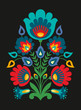 Polish folk inspired flowers on black background