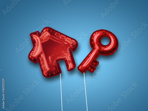 Red house and key balloons with copy space