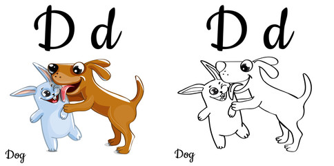 Dog. Vector alphabet letter D, coloring page