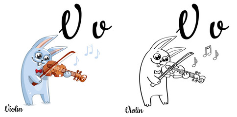 Violin. Vector alphabet letter V, coloring page