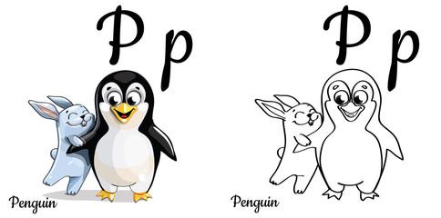 Penguin. Vector alphabet letter P, coloring page