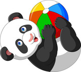 Cartoon baby panda playing with colorful ball