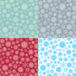 Set of 4 Seamless snowflakes pattern. EPS 10 vector