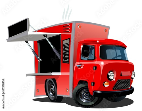 Cartoon food truck isolated on white background. Available EPS-10 vector format separated by groups and layers for easy edit