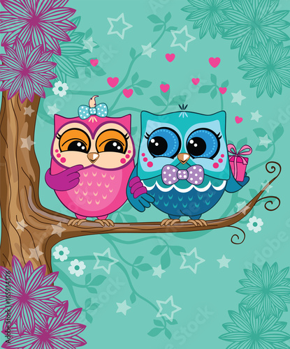 a group of owls on a blue background