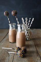 Chocolate milk with cake pops