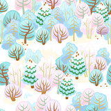Forest in winter with snow / Seamless pattern of fairy forest with snow