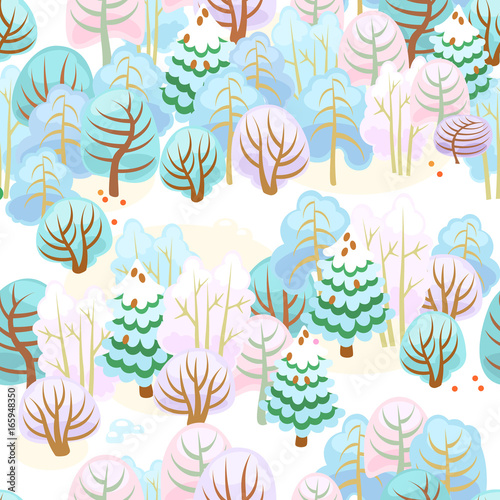 Materiał do szycia Forest in winter with snow / Seamless pattern of fairy forest with snow